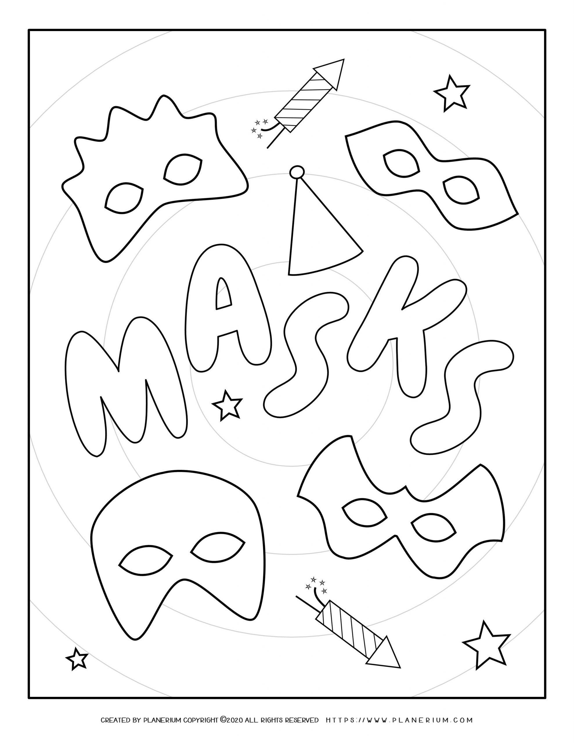 Carnival - Coloring Pages Worksheets - Masks Poster | Planerium