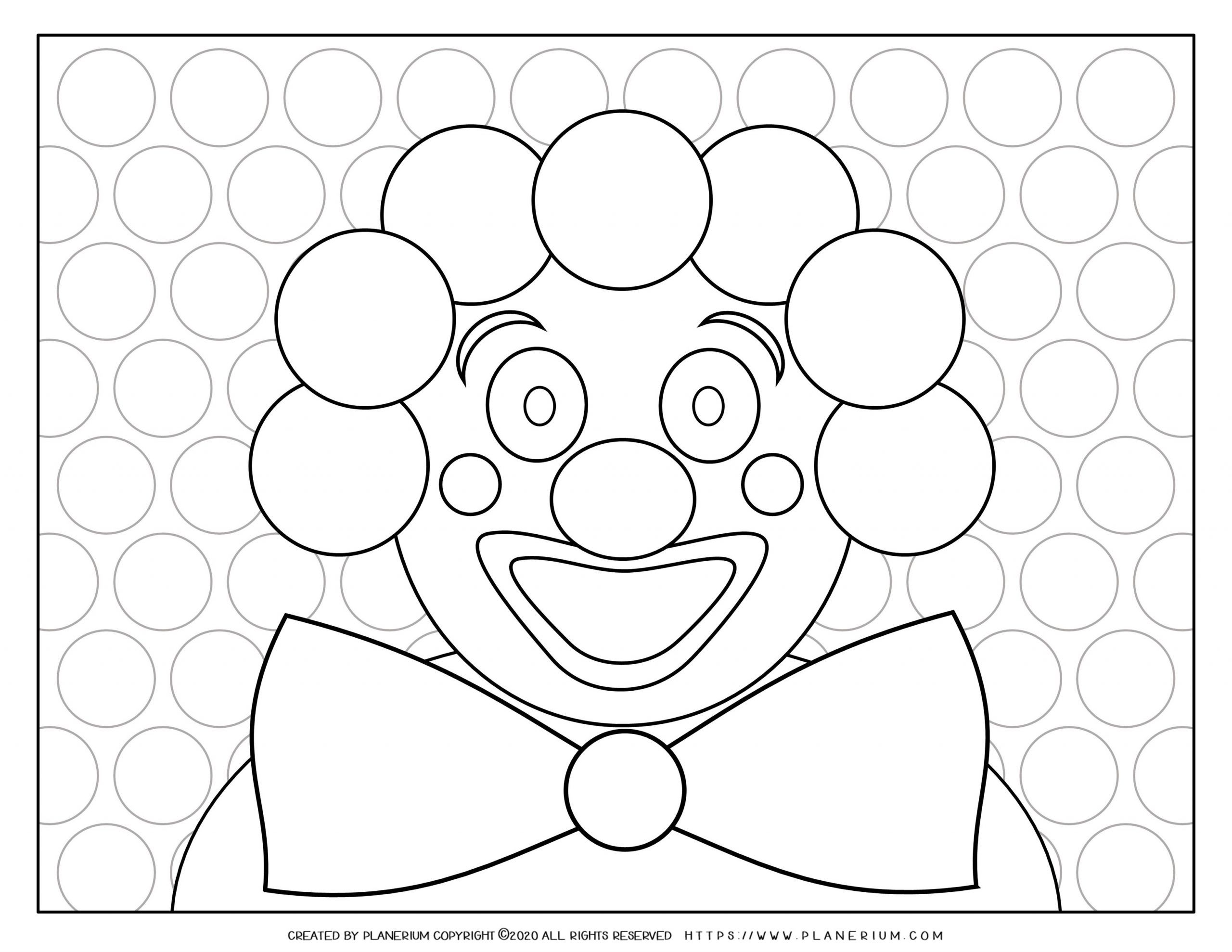 Carnival - Coloring Page Worksheet - Smiley Clown | Planerium