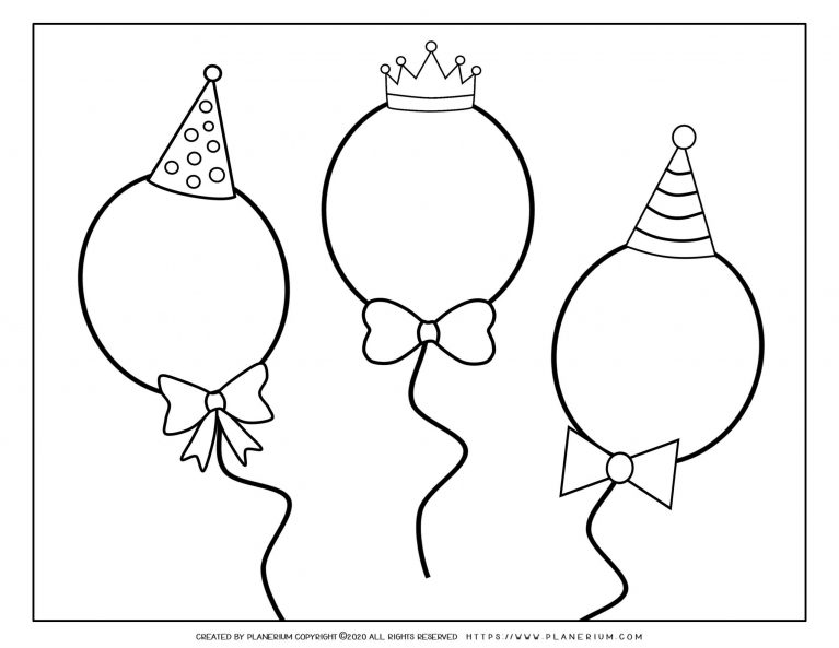 Carnival - Coloring Page Worksheet - Balloons | Planerium