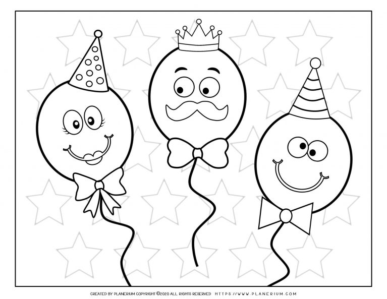 Carnival - Coloring Page Worksheet - Balloons Faces | Planerium