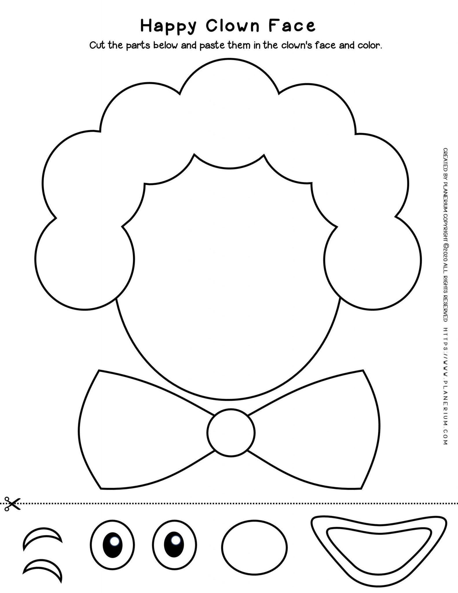 Carnival - Coloring Page Worksheet - Clown Cut Paste | Planerium