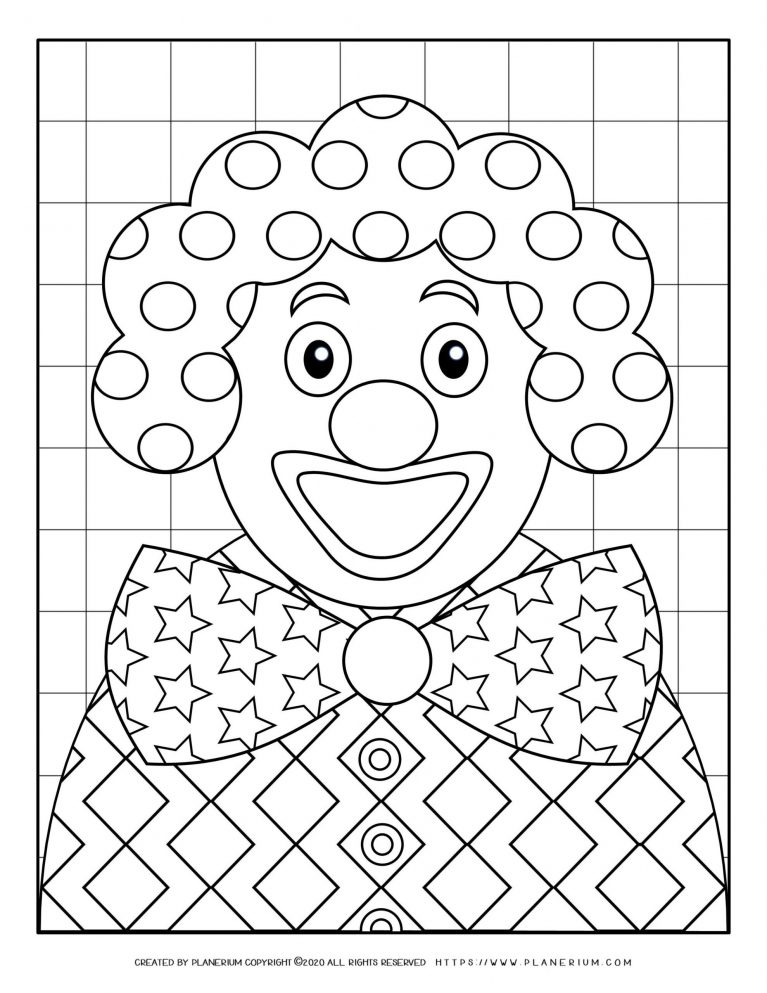Carnival - Coloring Page Worksheet - Smiley Clown Patterns | Planerium
