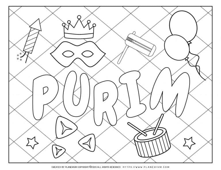 Purim 2020 - Coloring - Holiday Symbols Grid background