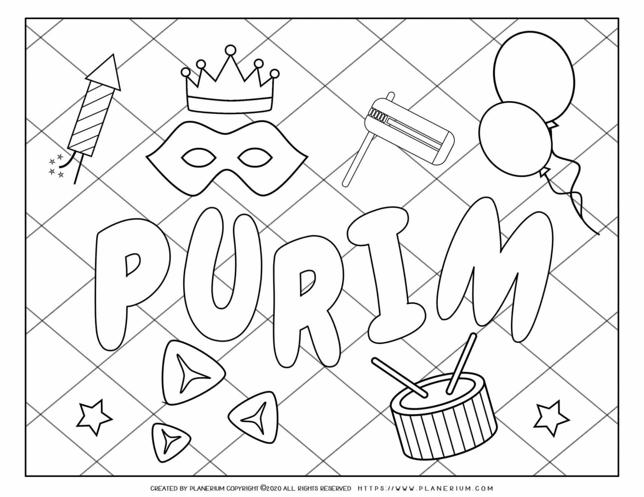 Purim Coloring Page Symbols Grid Background Planerium