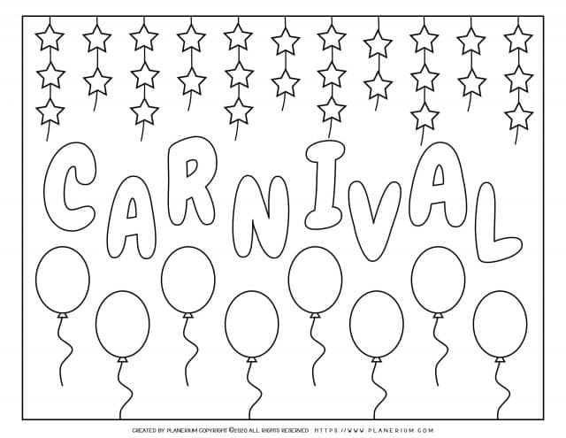 Carnival - Coloring Page Worksheet - Carnival Balloons | Planerium