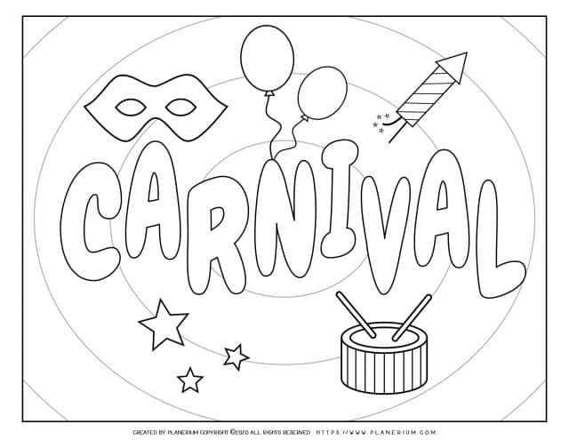 Carnival - Coloring Page Worksheet - Carnival Poster | Planerium