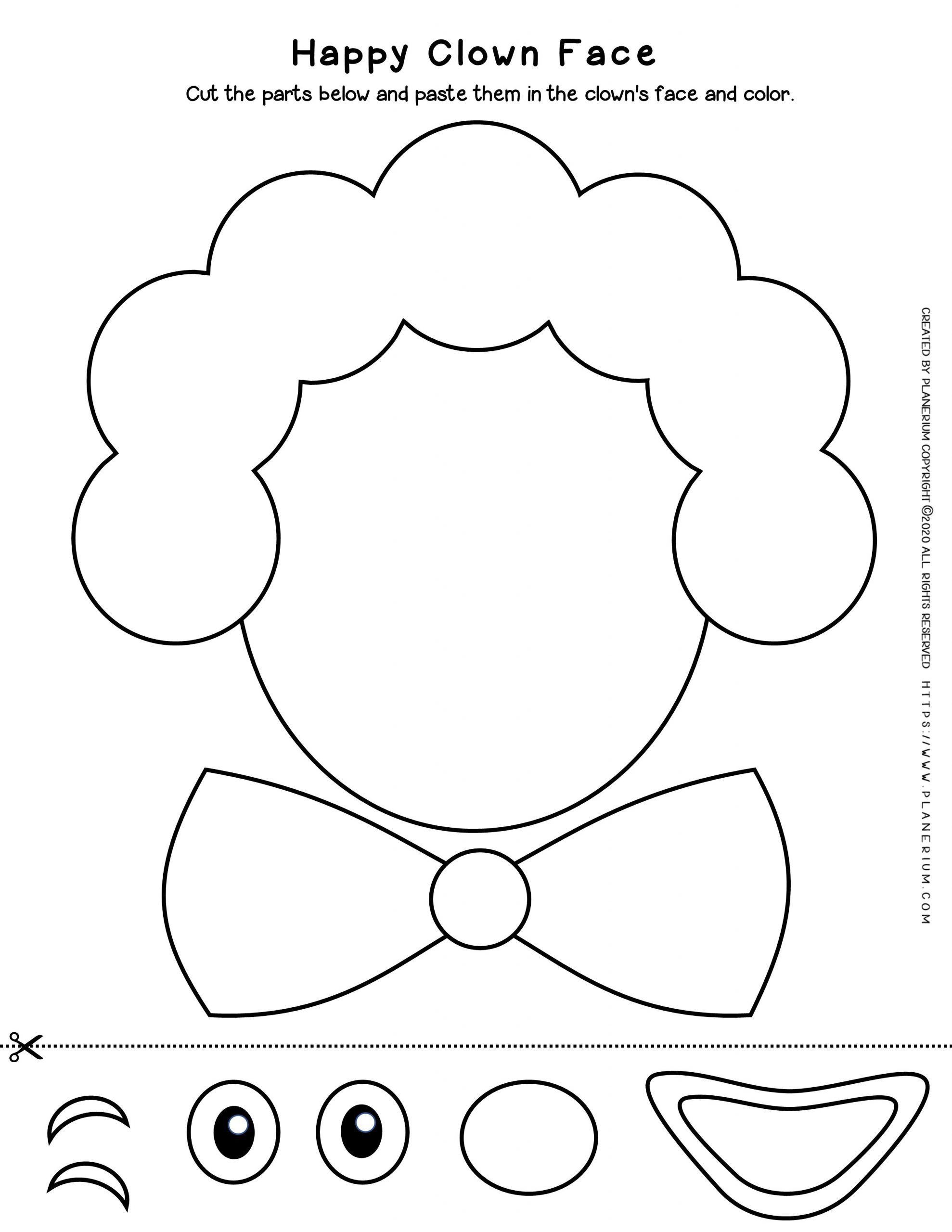 Carnival - Coloring Page Worksheet - Clown Cut Paste | Planerium