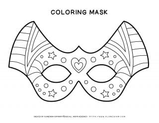 Carnival - Coloring Pages Worksheets - Eye Mask Decor | Planerium