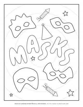 Carnival - Coloring Pages Worksheets - Masks Poster   Planerium