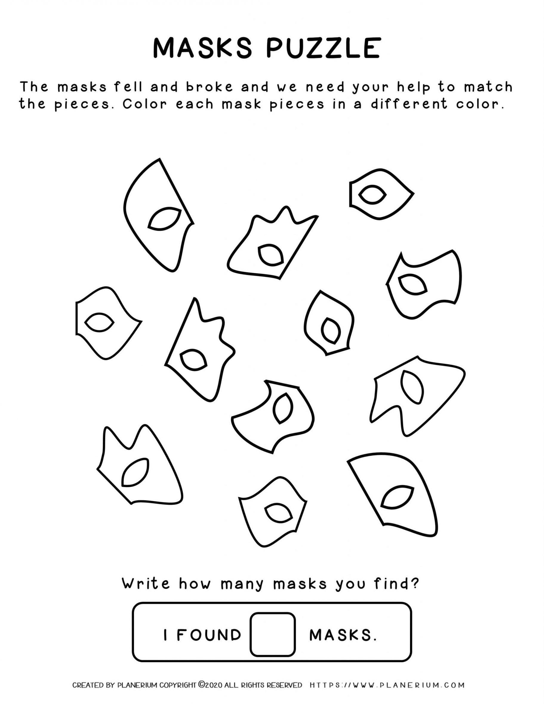 Carnival - Coloring Pages Worksheets - Masks Puzzle   Planerium