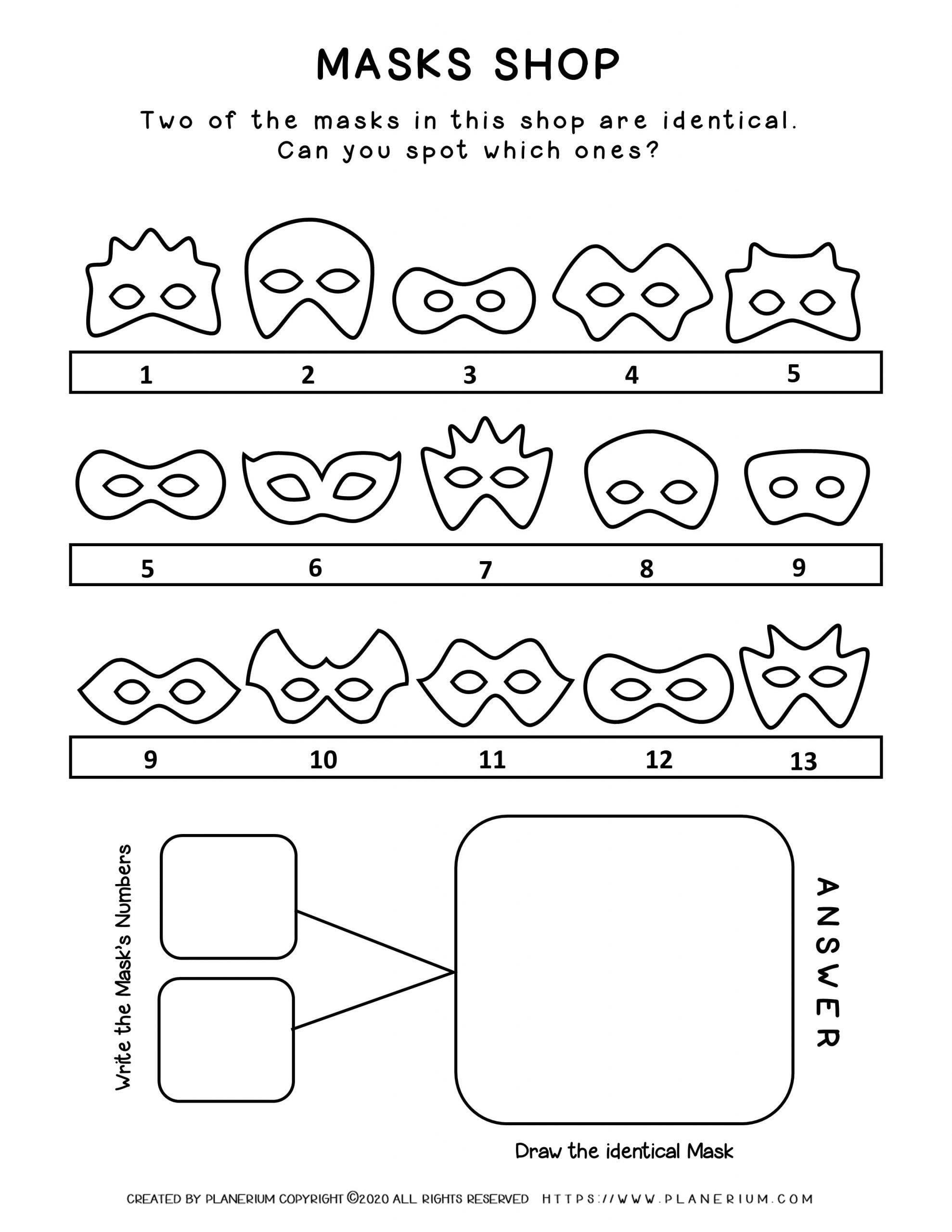 Carnival - Coloring Pages Worksheets - Masks Shop | Planerium