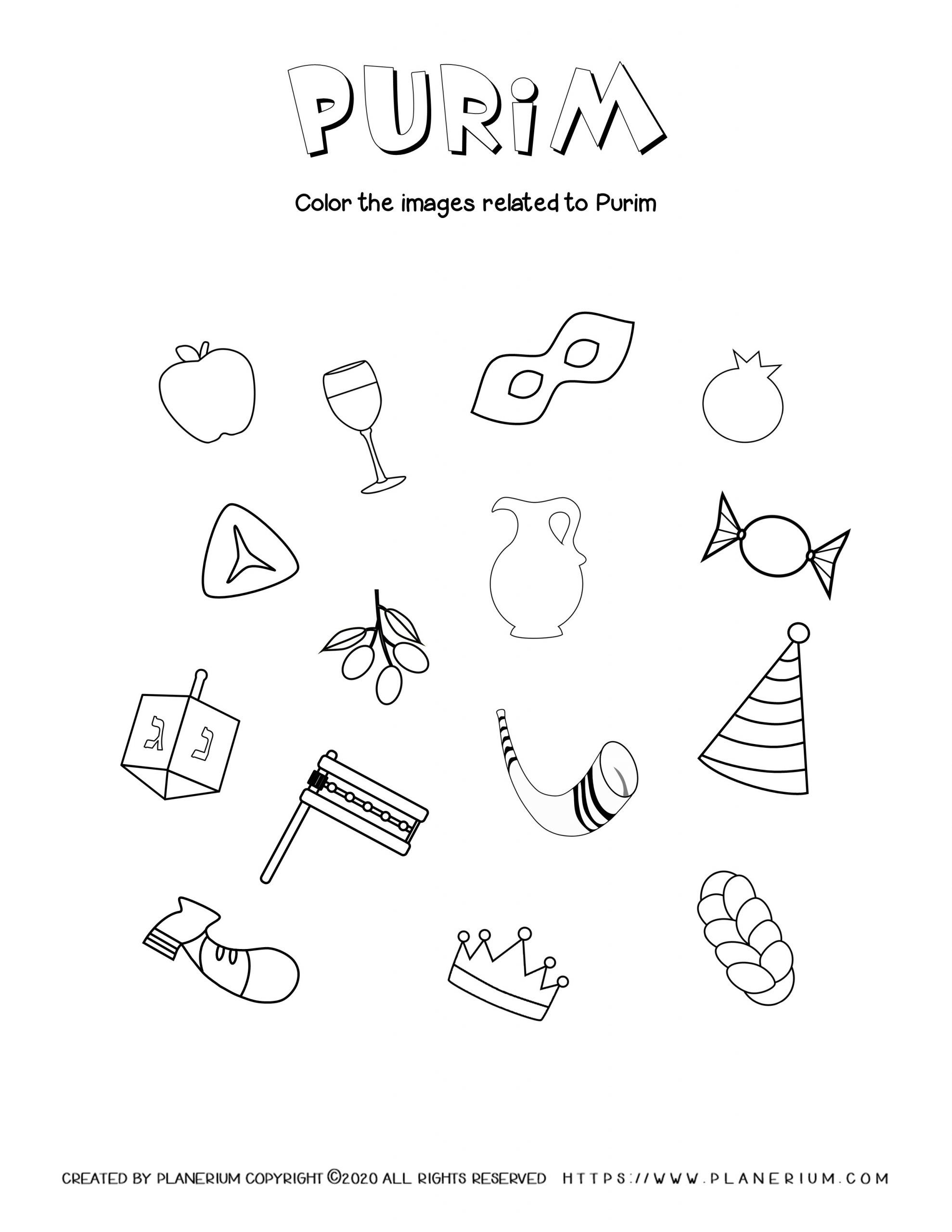 Purim - Coloring - Holiday related items | Planerium