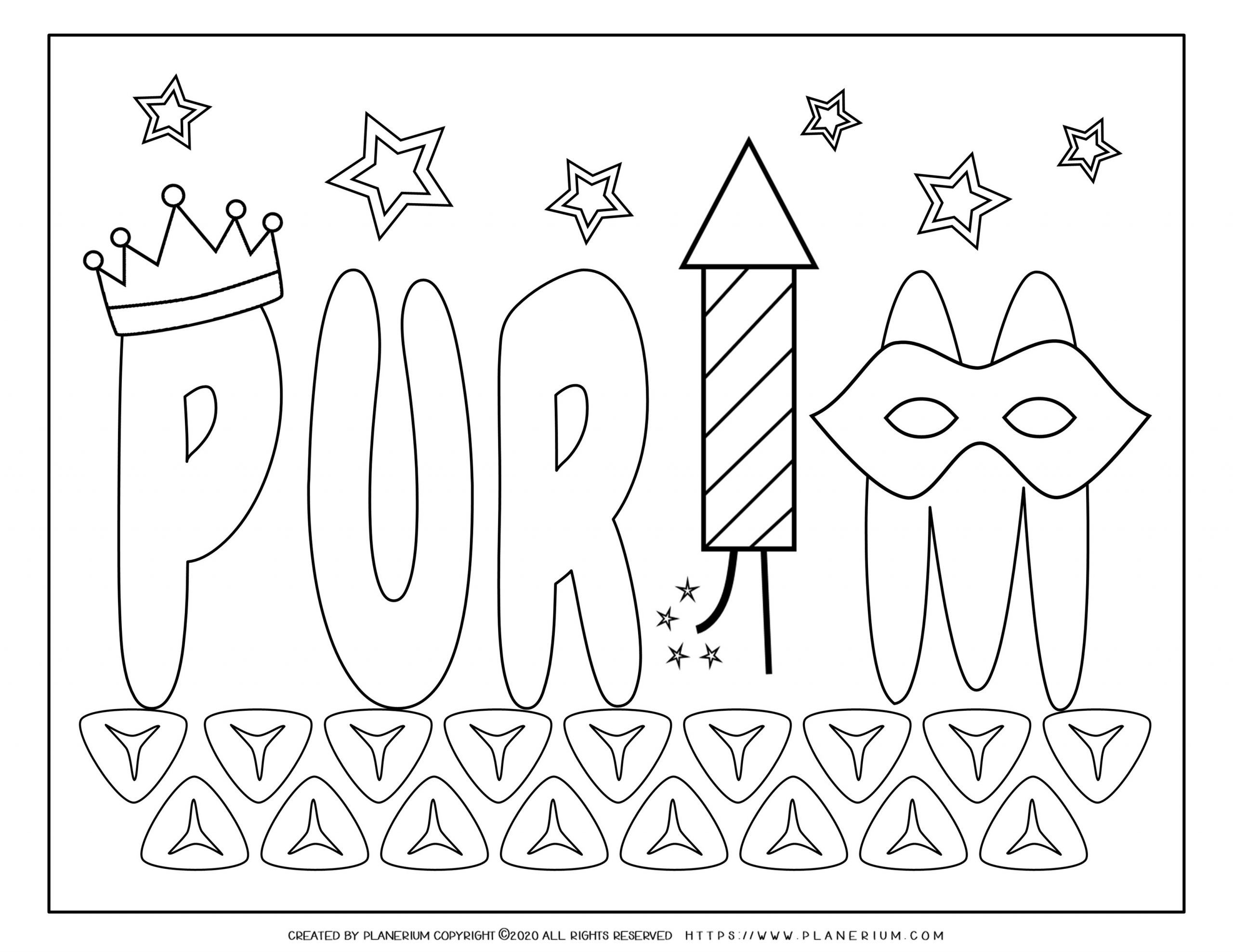 Purim 2020 - Coloring - Purim title on Hamantaschen