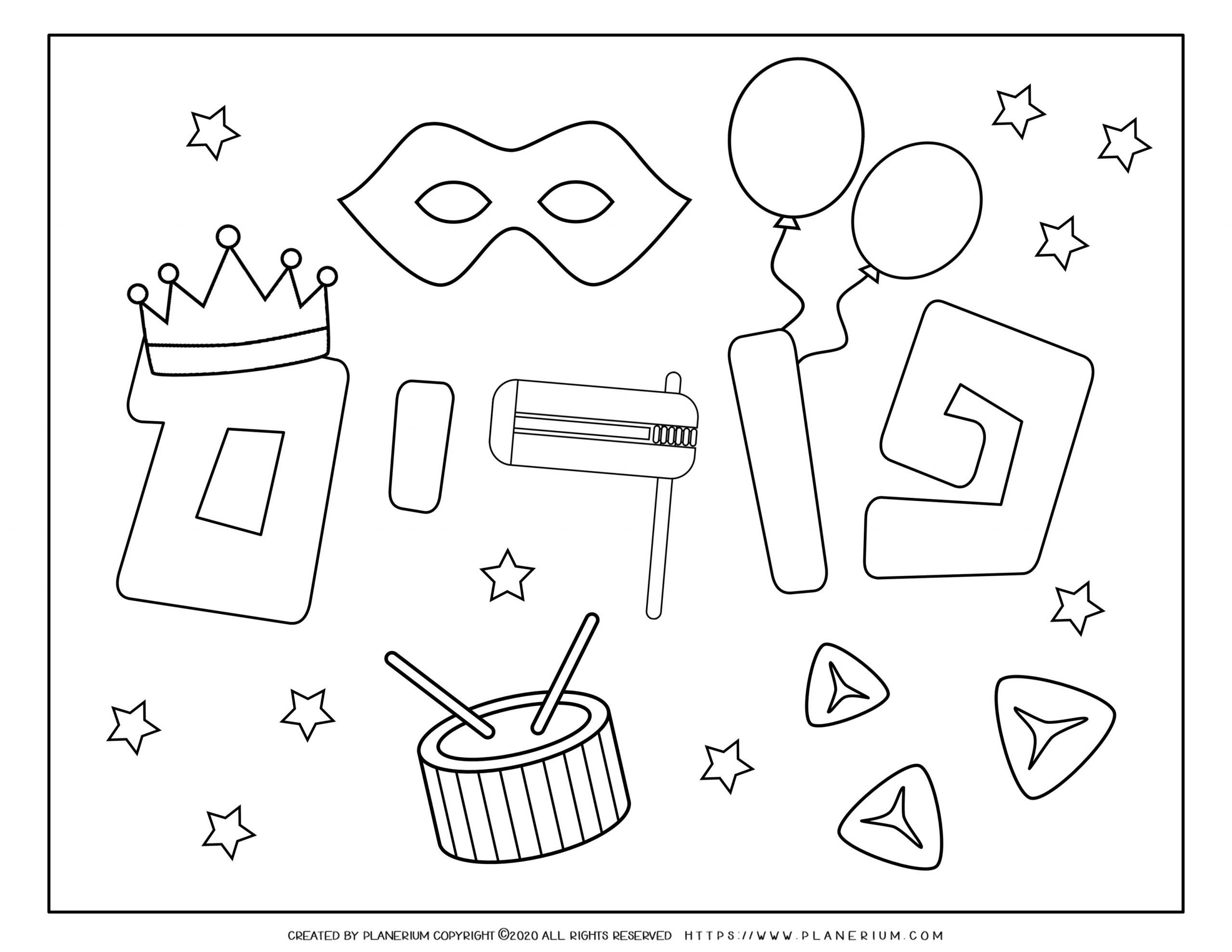 Purim 2020 - Coloring - Holiday Symbols and stars