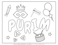 Purim 2020 - Coloring - Holiday Symbols English title