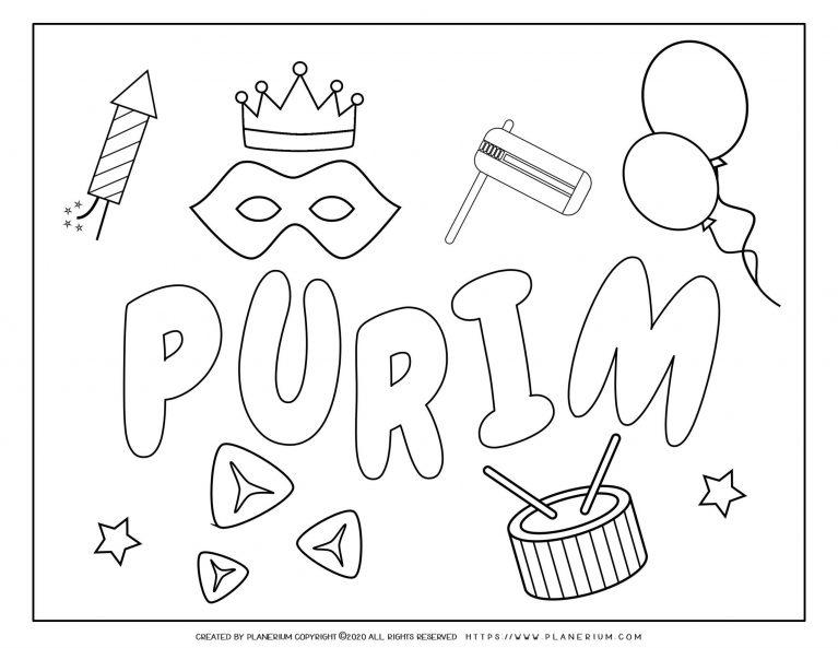 Purim 2020 - Coloring - Holiday Symbols English title