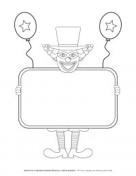 Purim - Coloring - Clown holding an Empty Sign