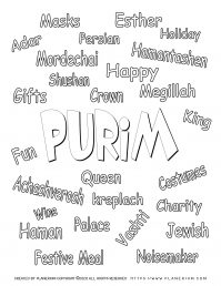 Purim - Coloring - Holiday Related words in English