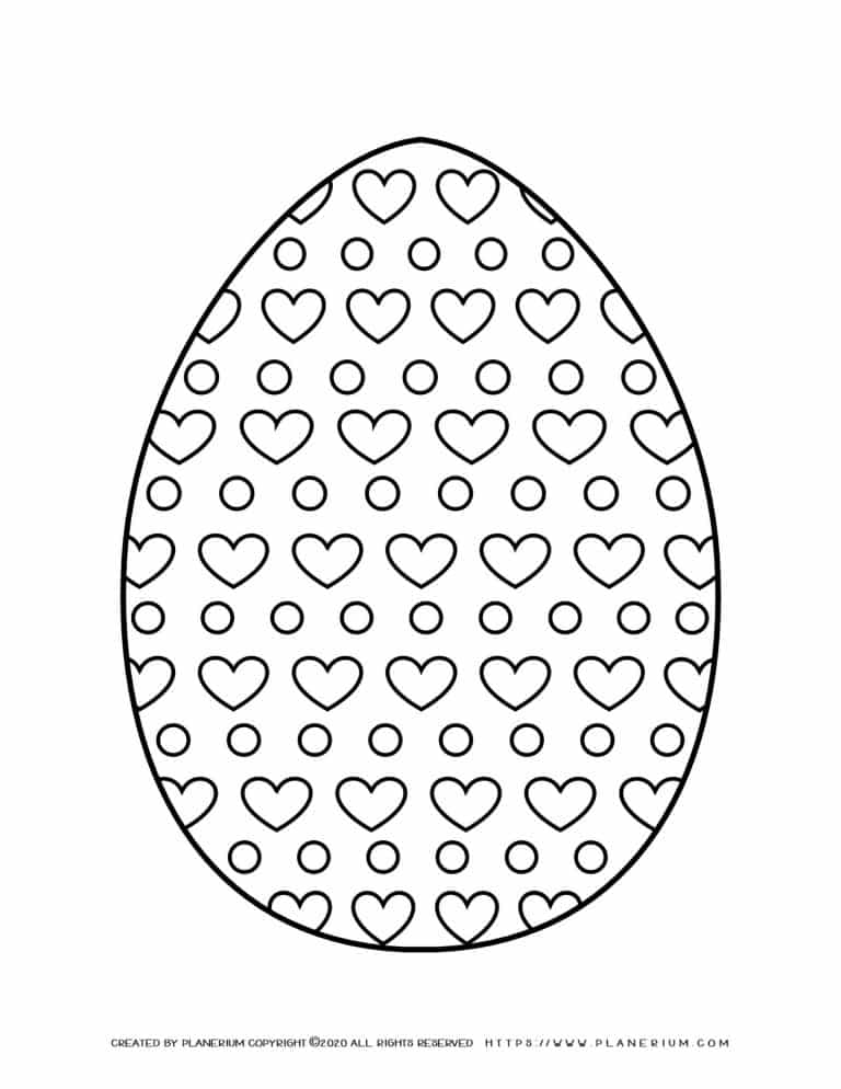 Easter Egg decorated with Hearts