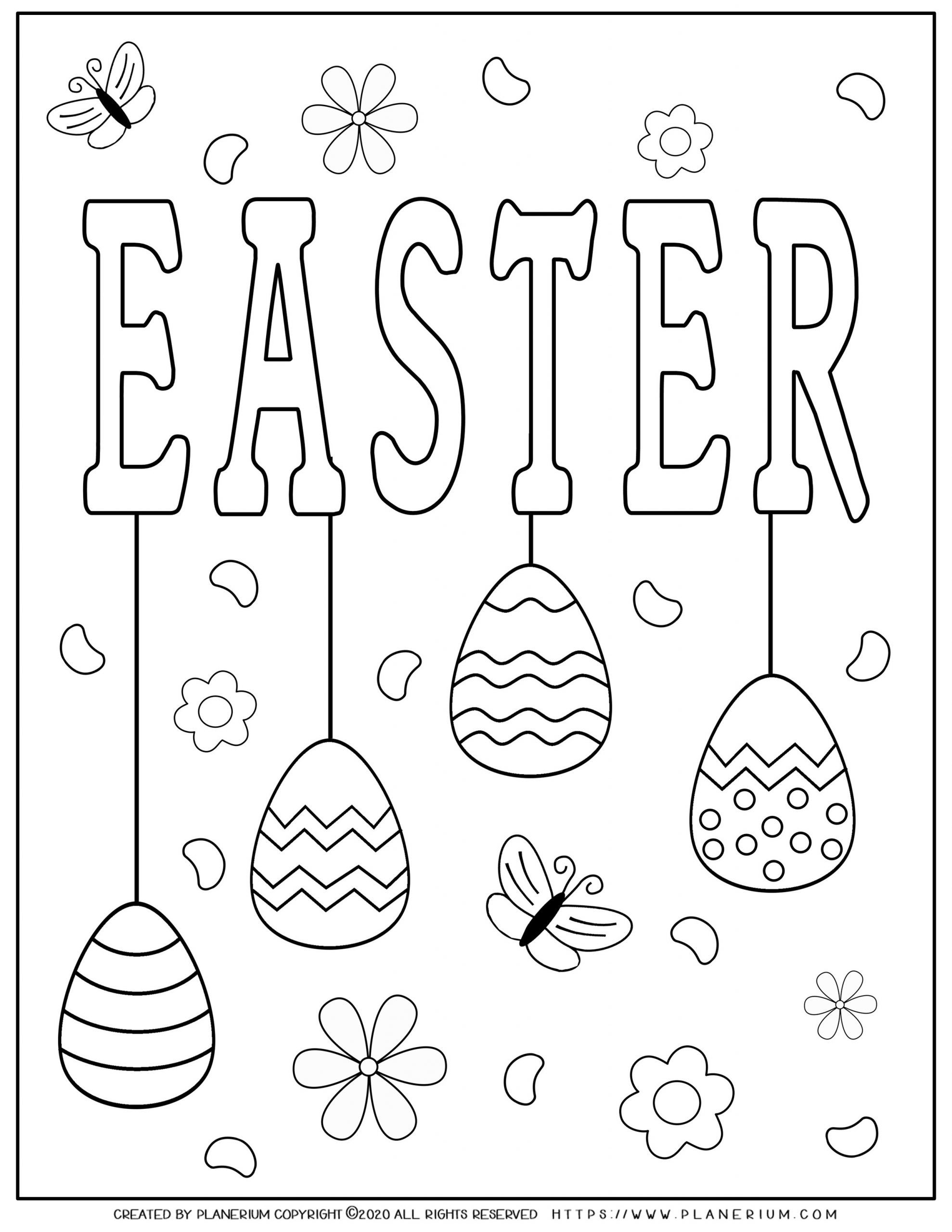 Easter sign with decorated eggs