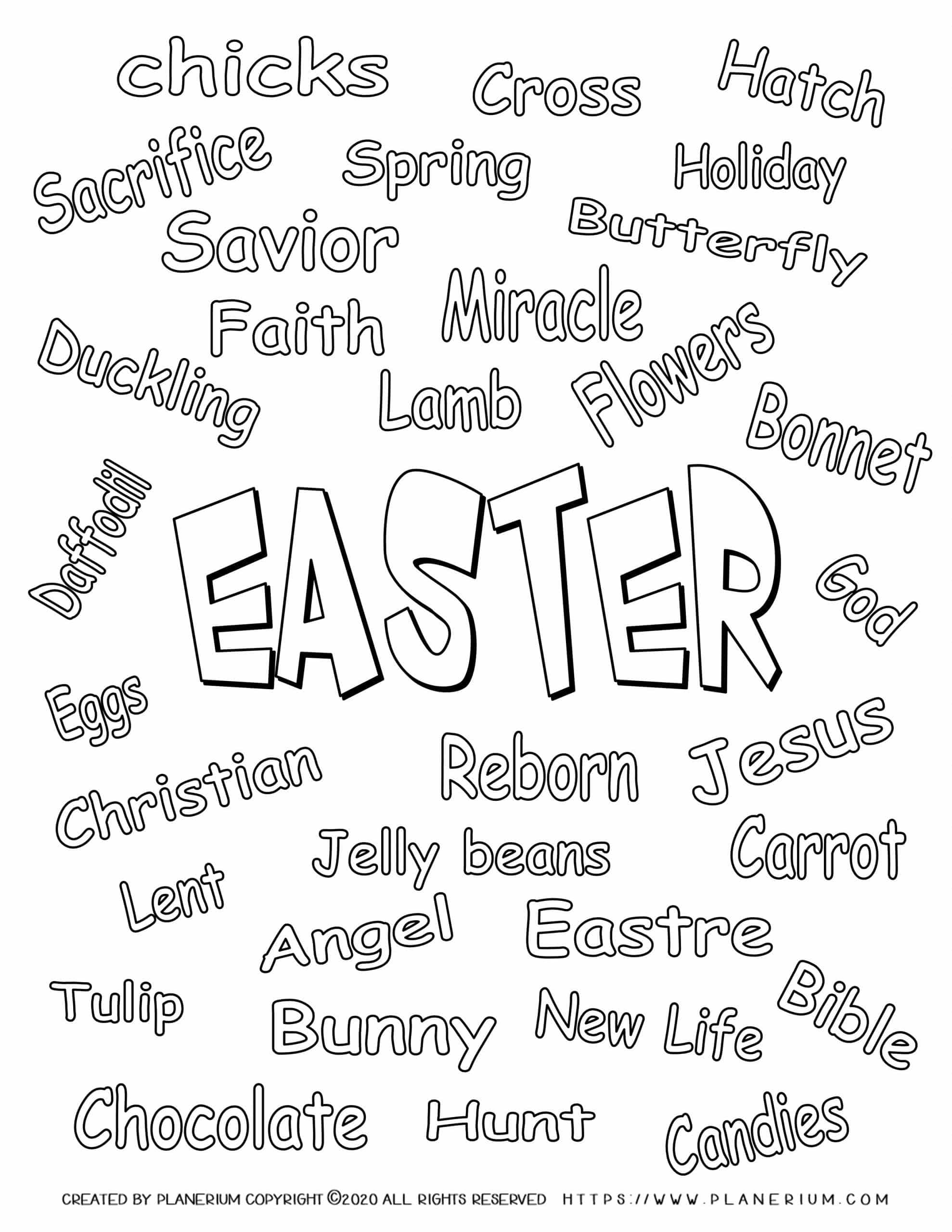 Easter Coloring page - Easter related words to color