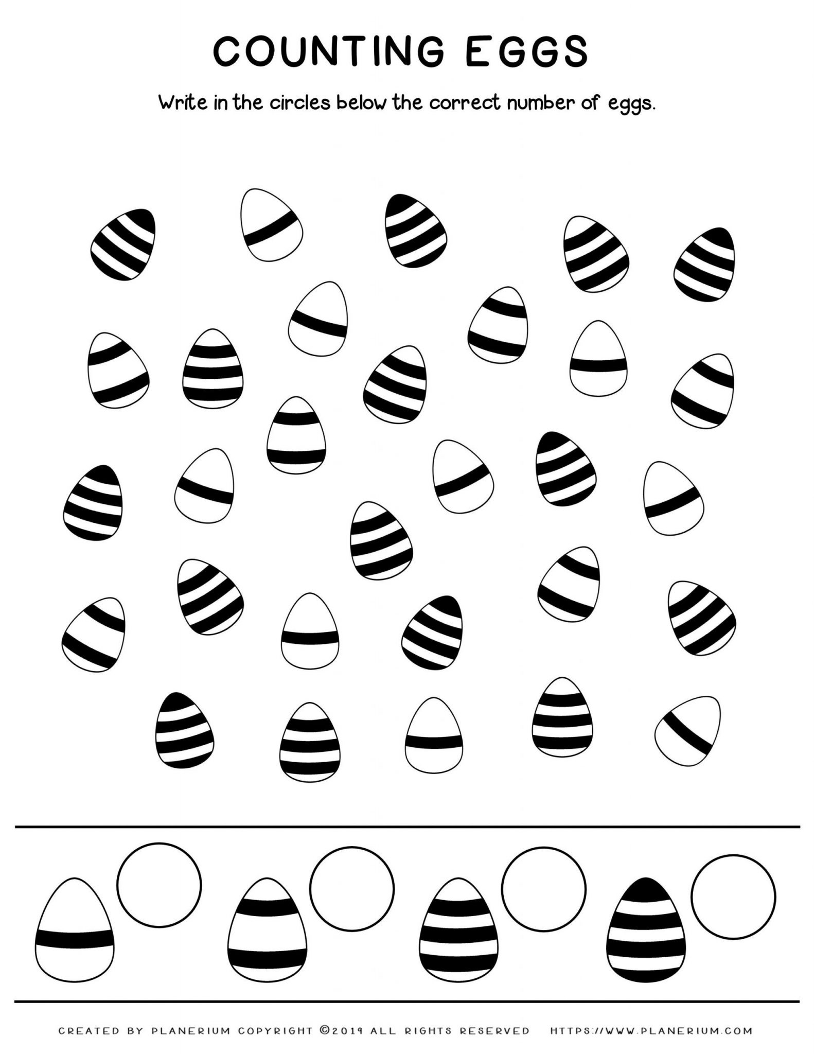 Easter eggs counting and Sorting worksheet