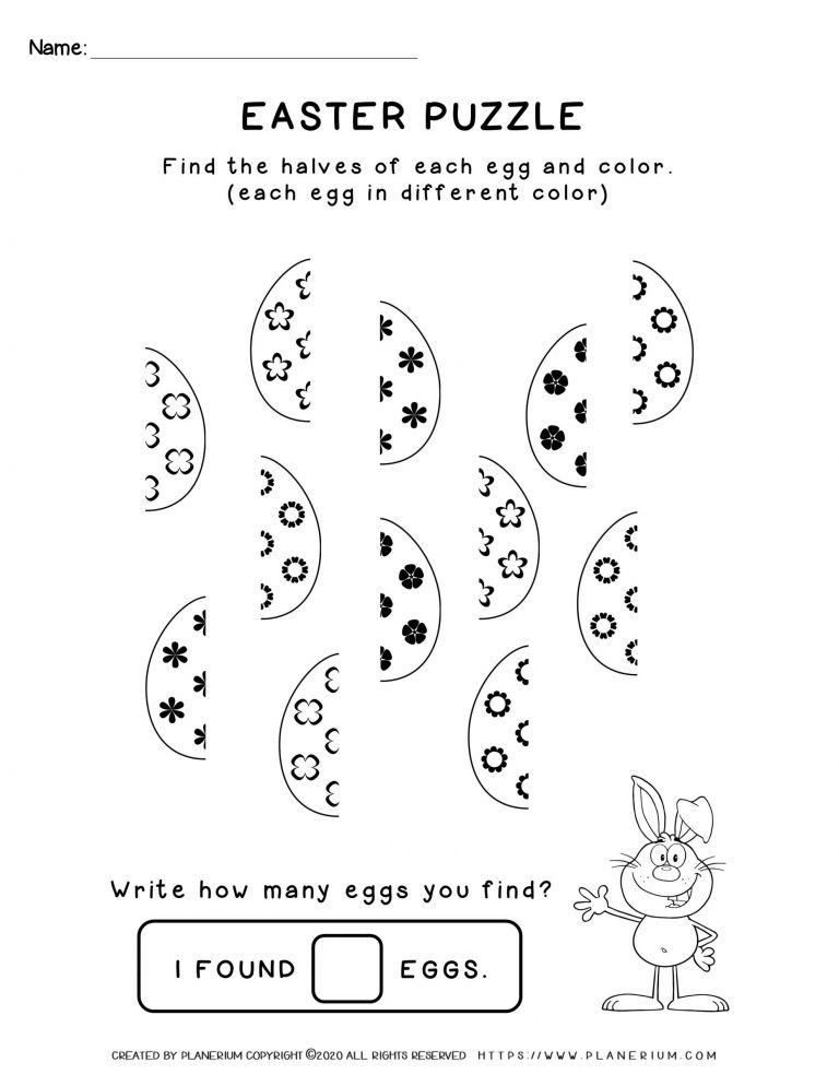 Easter puzzle of decorated eggs