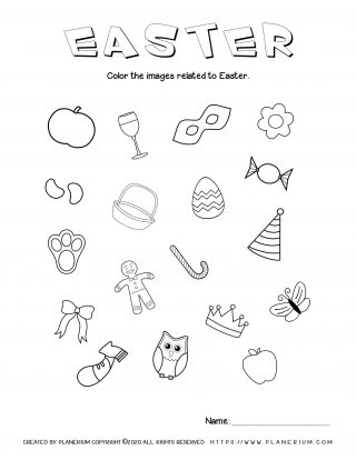 Easter related items worksheet