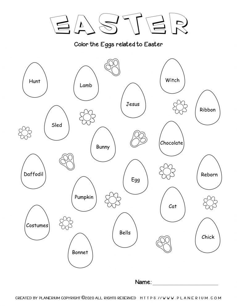 Easter related words in Easter eggs