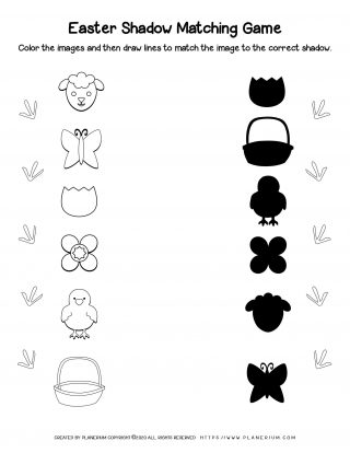 Easter items matching worksheet