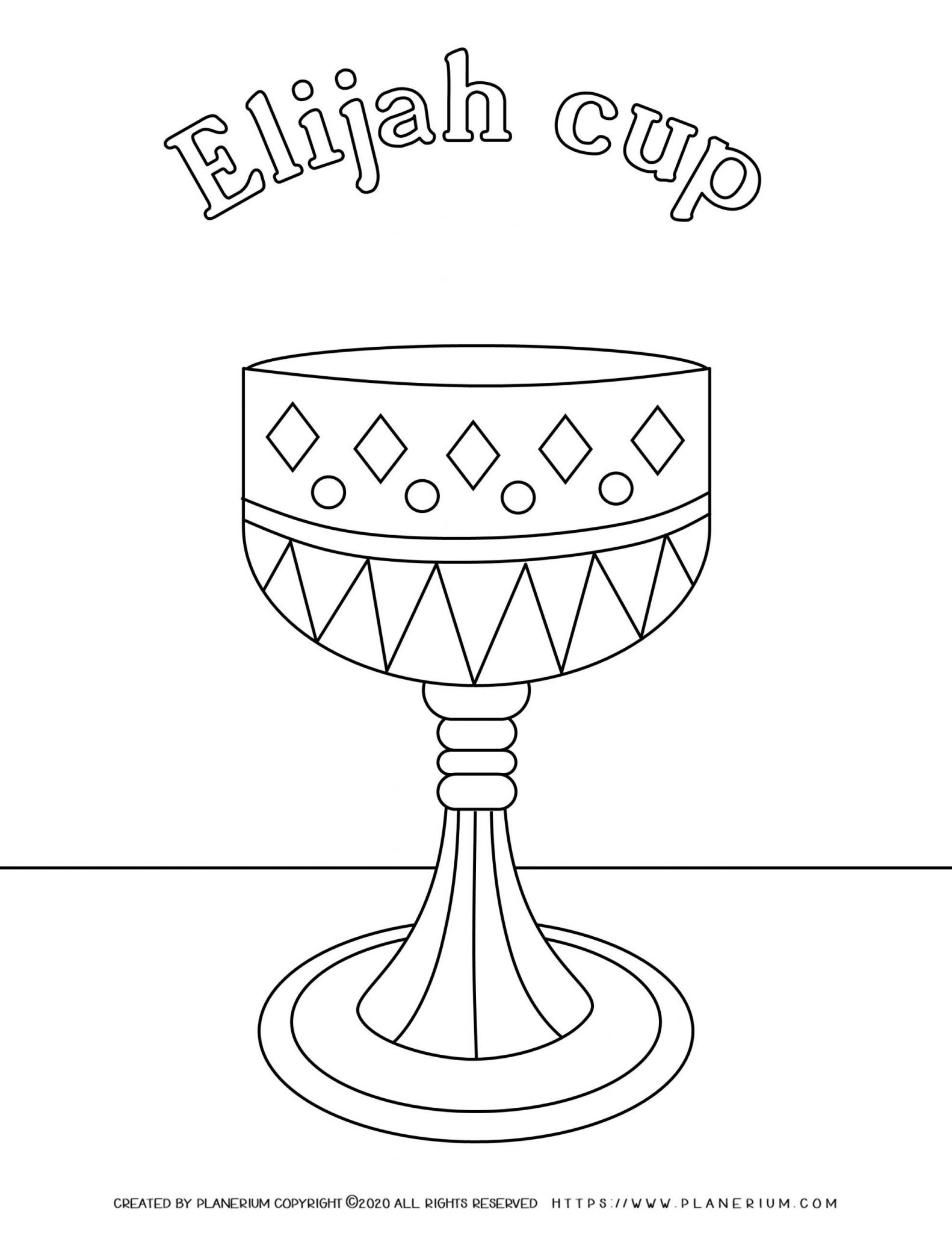 Passover coloring page - Elijah cup with English title
