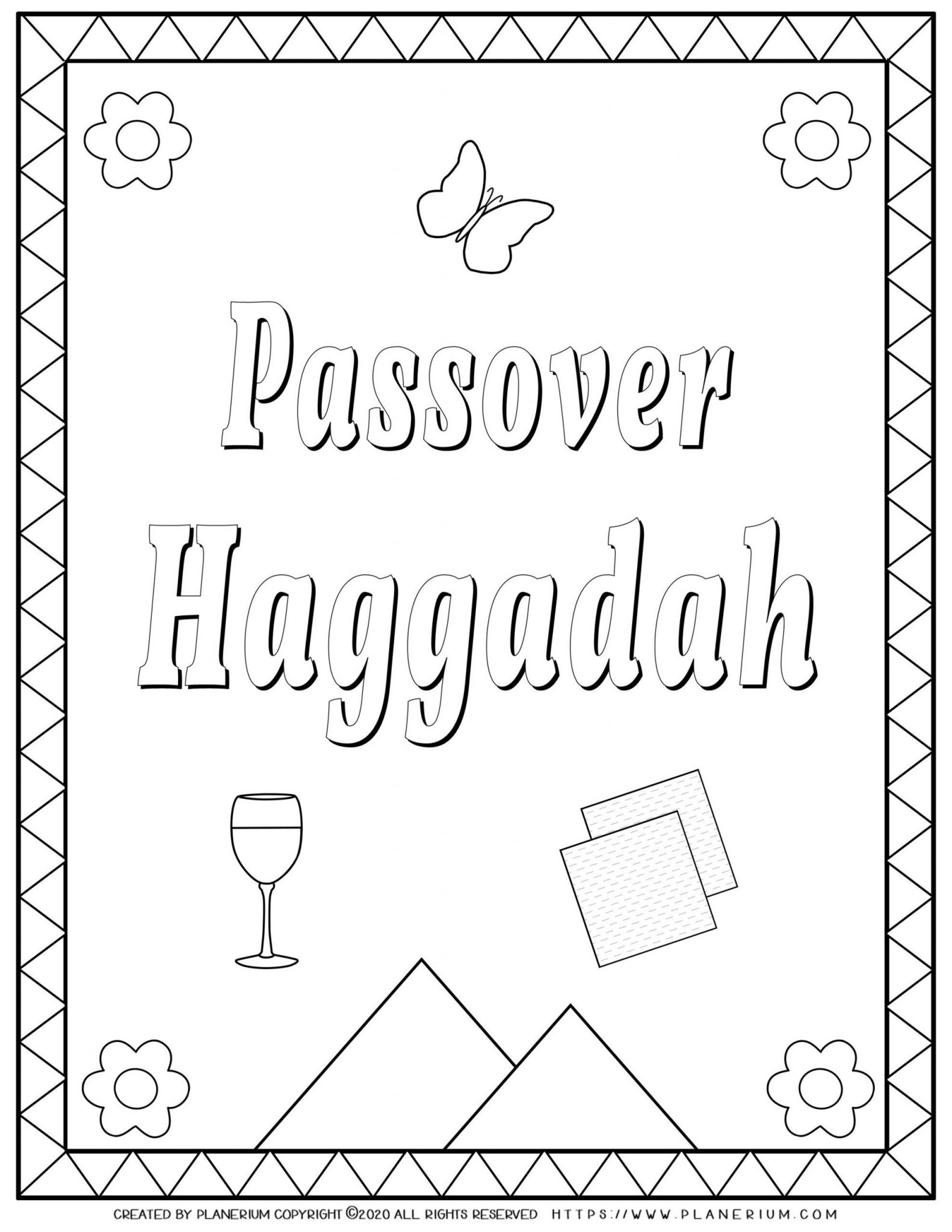Passover coloring page - Haggadah book cover - English title