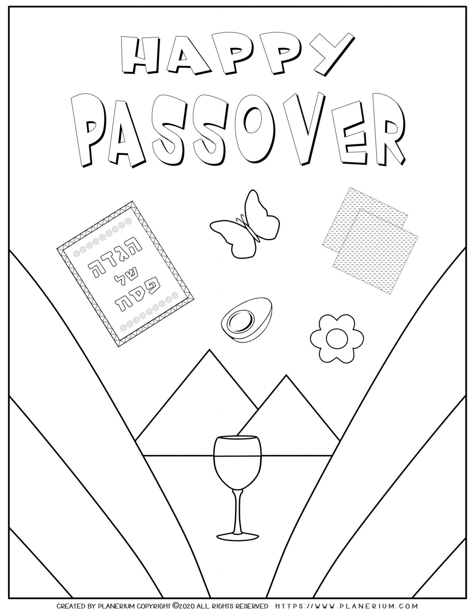 Passover coloring page - Happy Passover - English title