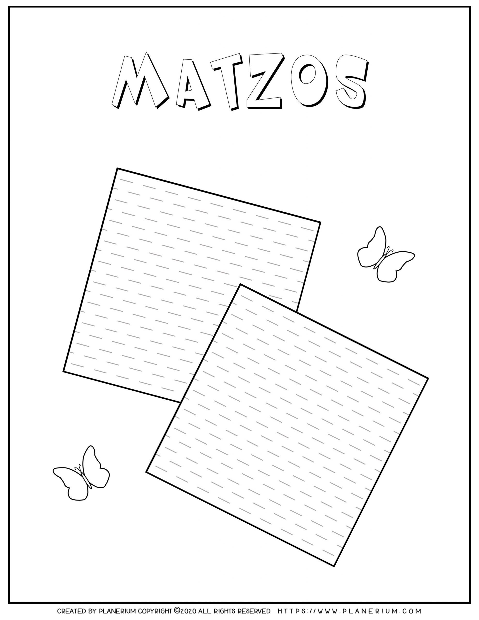 Passover coloring page - Two Matzos - English title