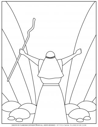 Passover coloring page - Moses parting the red sea