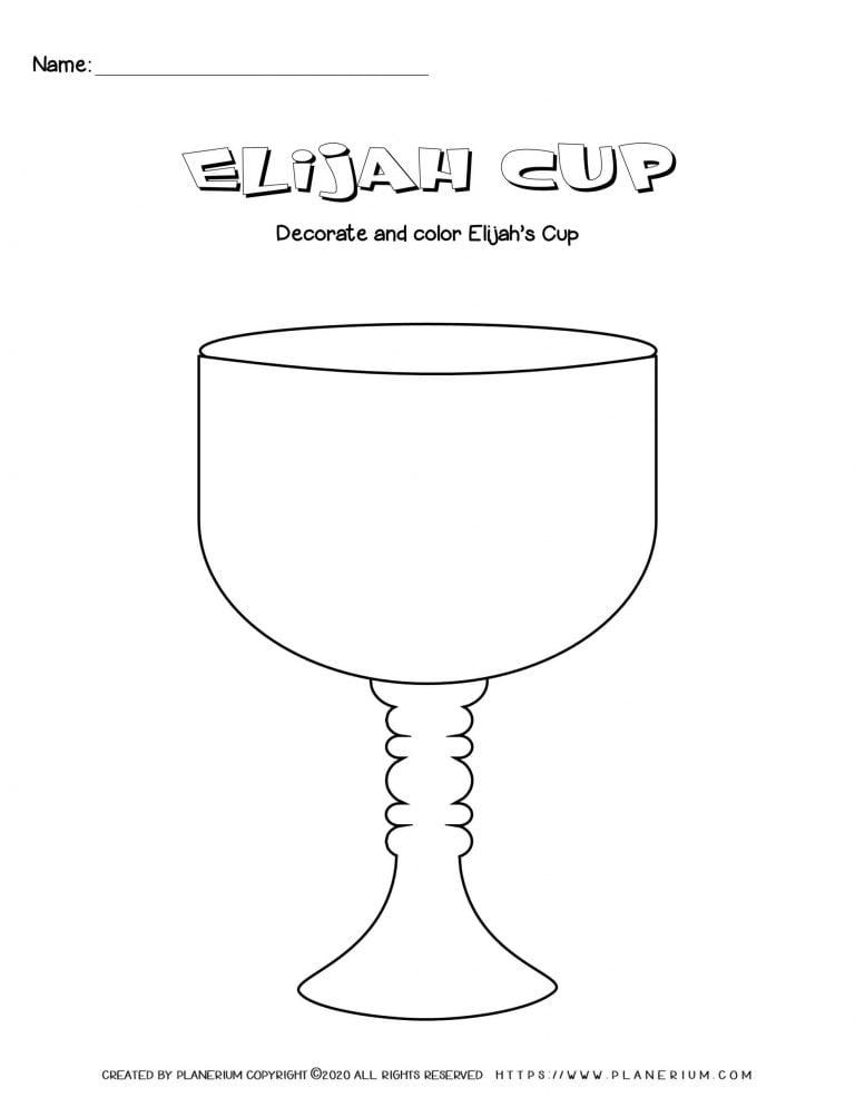 Passover worksheet - Elijah cup template - English title