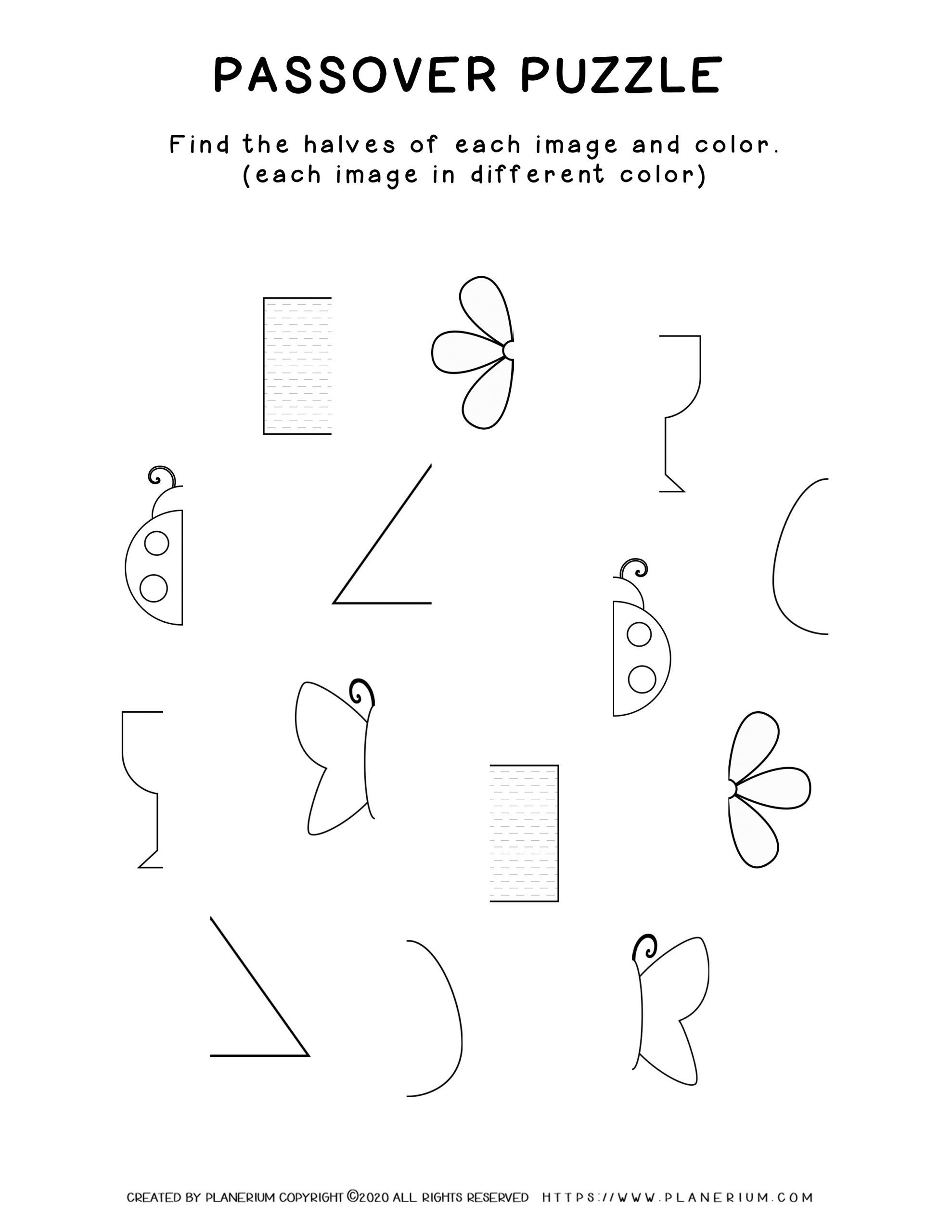 Passover worksheet - Puzzle game Matching