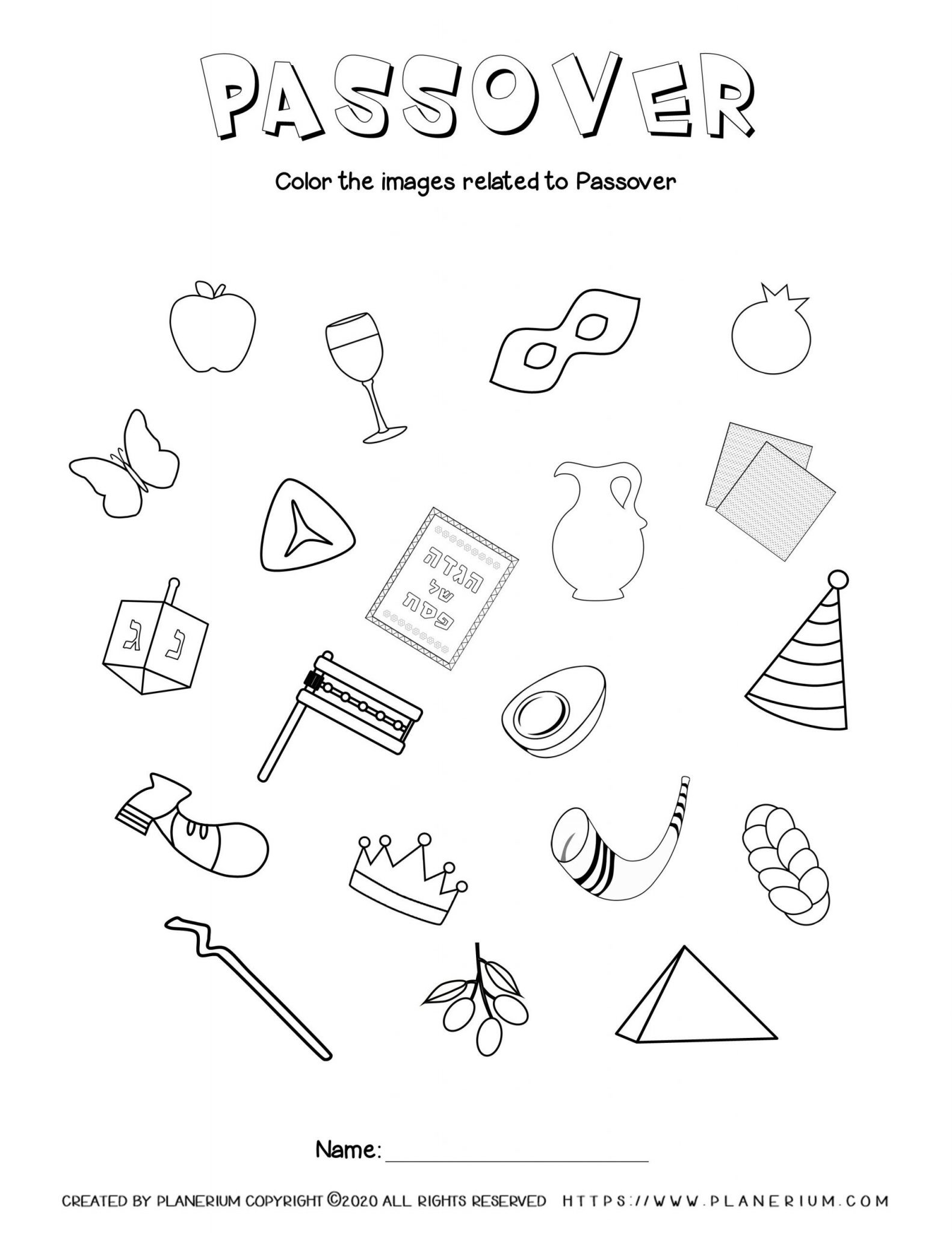 Passover worksheet - Related symbols - English title