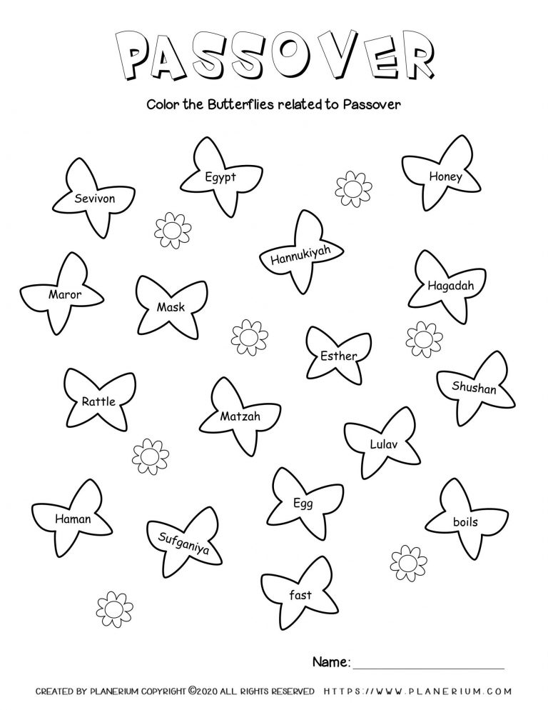 Passover worksheet - Related words on butterflies - English