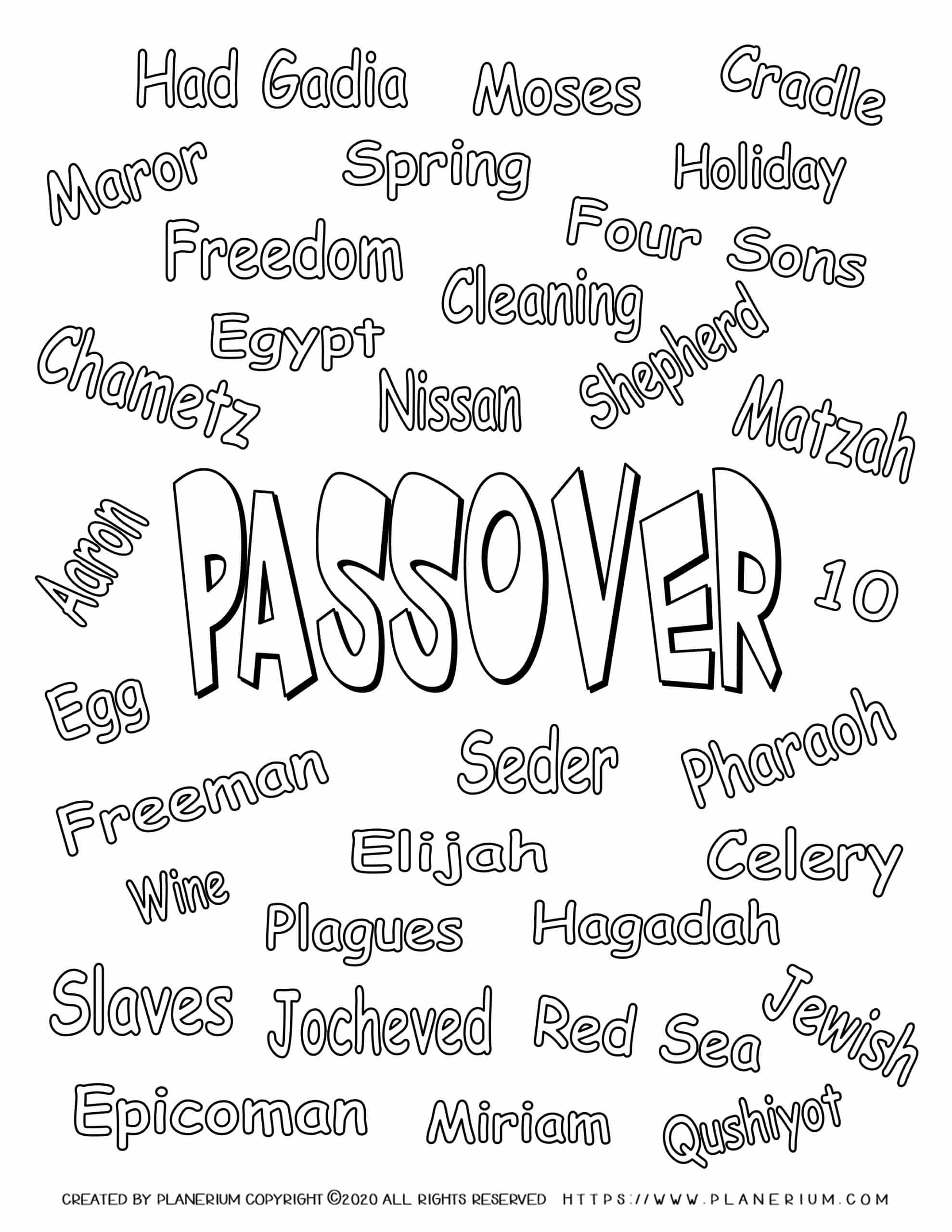Passover worksheet - Color related words - English