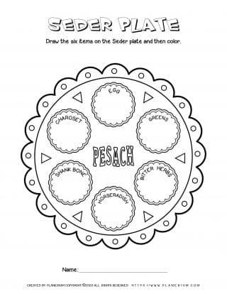Passover worksheet - Seder Plate - English titles