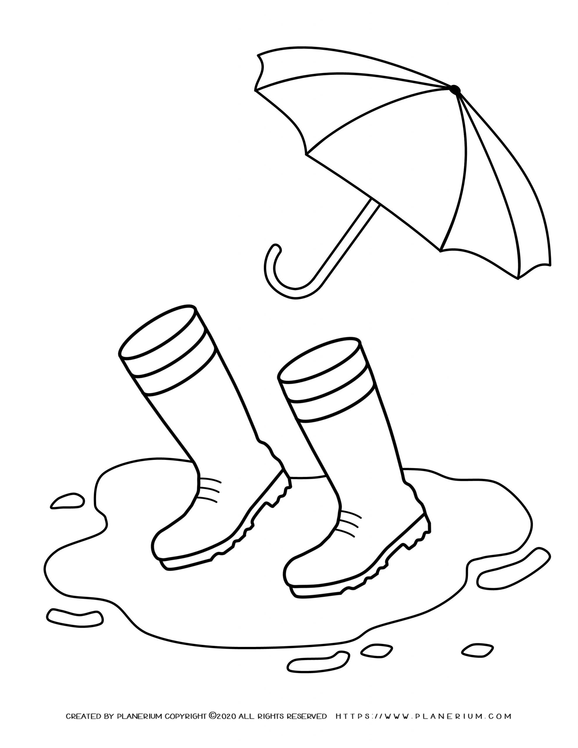Spring coloring page - Boots in the pond