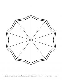Spring coloring page with a decagon shaped umbrella
