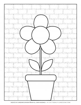 Spring coloring page with a flower in a pot on brick wall background
