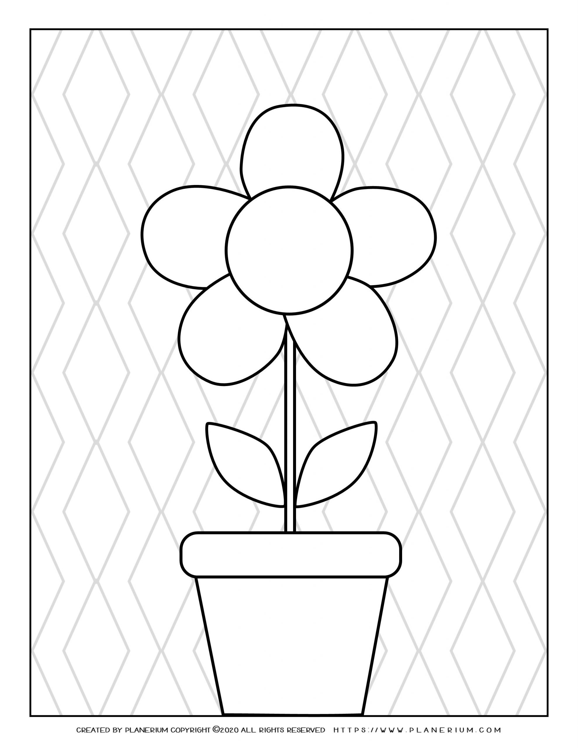 Spring coloring page with a flower in a pot and vertical zigzag background