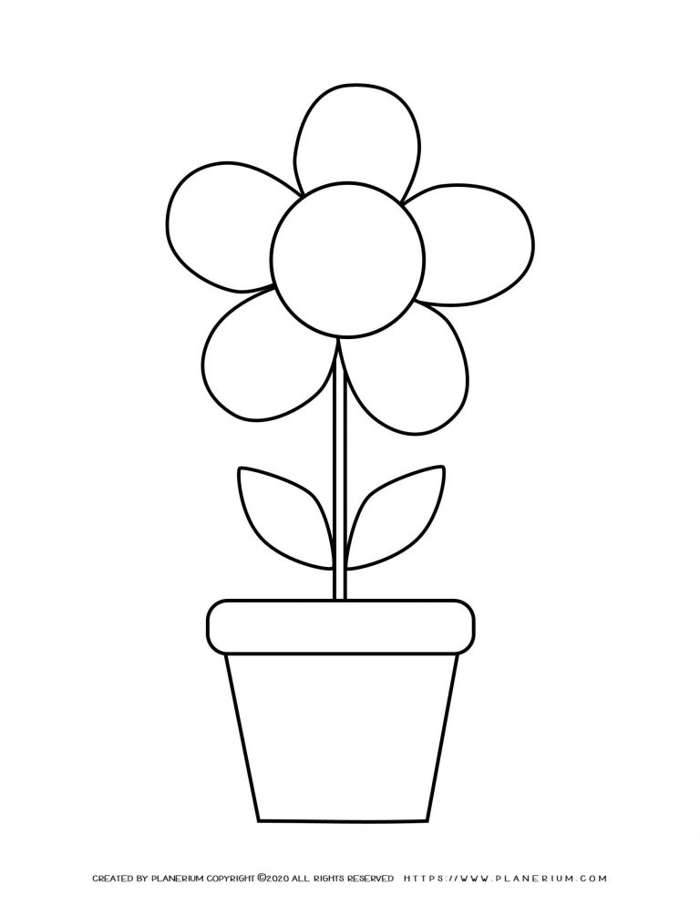 Spring coloring page with a flower in a pot