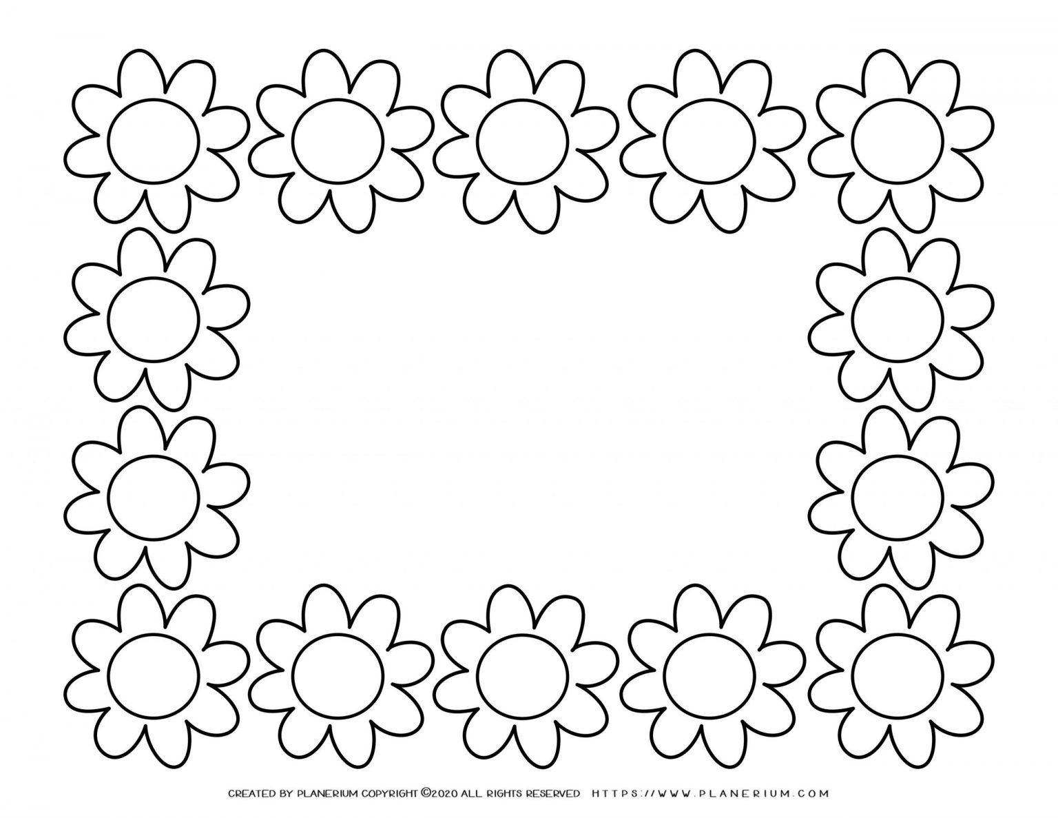 Spring coloring page with flowers frame