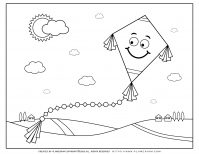 Spring coloring page - Smiling flying kite