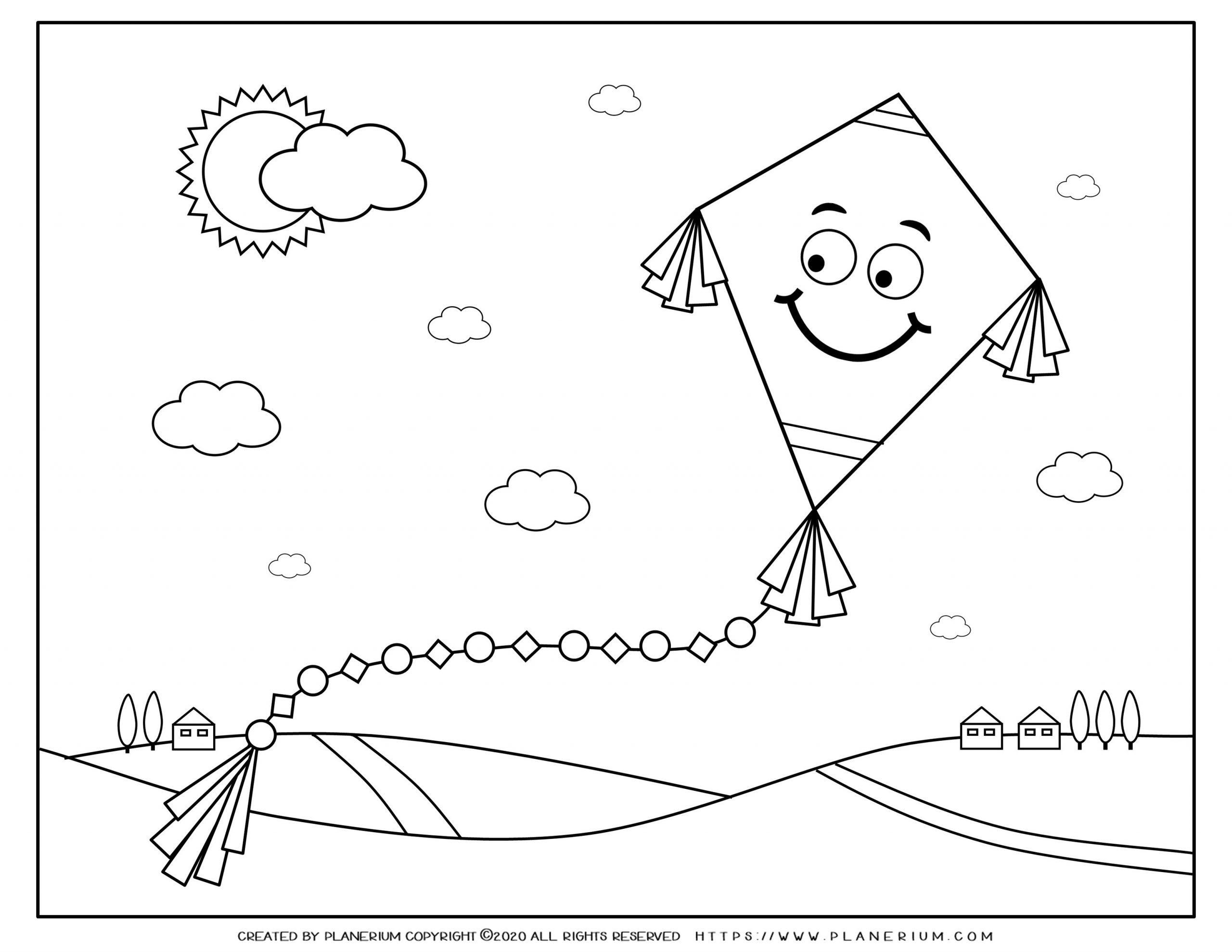 Spring - Coloring page - Smiling Kite - FREE | Planerium