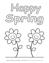 Spring coloring page with two smiling flowers